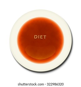 An alphabet soup with the word diet