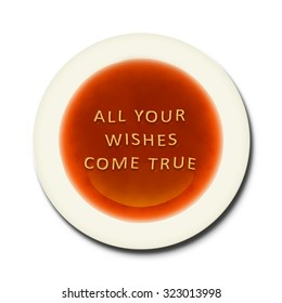 An alphabet soup with the words all your wishes come true