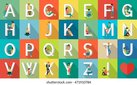 Alphabet vacation concept. Flat design. ABC  with peoples on vacation. Simple letters and human resting characters collection. Summer leisure and entertainments illustrations. World trip.