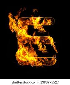 ALPHABETIC FIRE LETTERS, A TO Z , LETTER E, 3D ILLUSTRATION