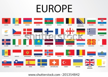 alphabetical country flags continent europeのイラスト素材 201354842