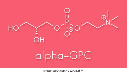 Alpha-GPC (L-Alpha glycerylphosphorylcholine, choline alfoscerate) molecule.  Skeletal formula.
