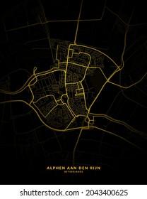 Alphen aan den Rijn, Netherlands City Map - Alphen aan den Rijn City Gold Map Poster Wall Art Home Decor Ready to Printable