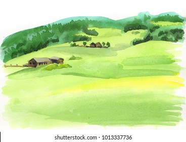 Alpine landscape. Watercolor illustration