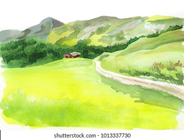Alpine scenery. Watercolor illustration