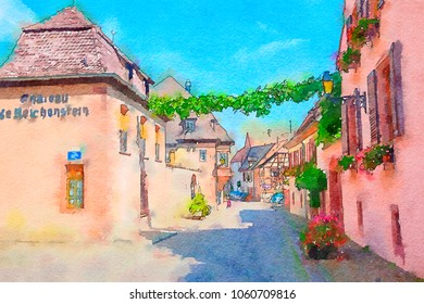 Alsace countryside, watercolor style