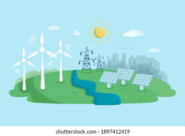 Alternative Clean Energy Concept with Wind Turbines and Solar Panels. Renewable Power Sources with Windmills.Fflat illustration