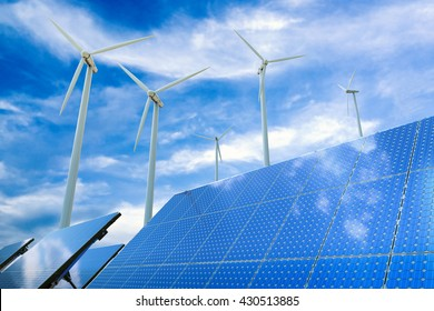 alternative energy concept with 3d rendering wind turbines and solar panels