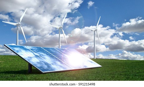Alternative energy concept with wind turbines and solar panels.3D Rendering.