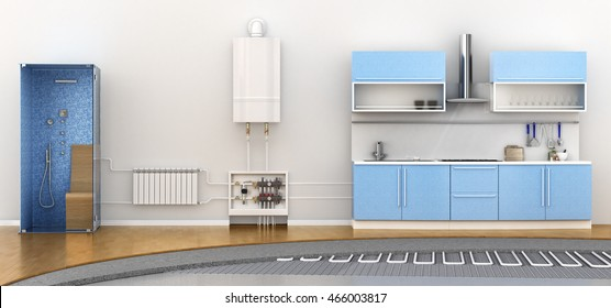 Alternative heating underfloor. Scheme of heat exchange coil. 3d illustration