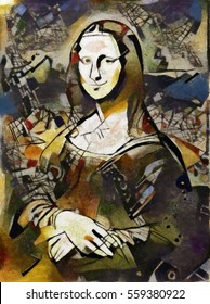 Alternative is the painting of Leonardo. Mona Lisa performed in combination with the abstract style of Picasso. Oil on canvas with elements of pastels and pencil.