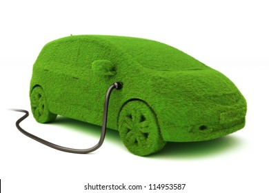 Alternative power concept eco car . Grass covered car plugged into power supply on a white background.