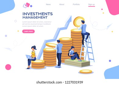 Alternative progress, building ad, investment management for company. Joint markets and move up deal. Bank career growth for success. Flat ambition concept with character isometric illustration