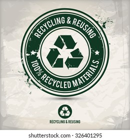 alternative recycling stamp on textured background