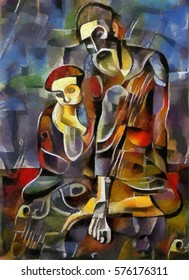 Alternative reproduction of a famous Picasso painting. Designed in a modern style with elements of cubism. Oil on canvas and pastel painting.
