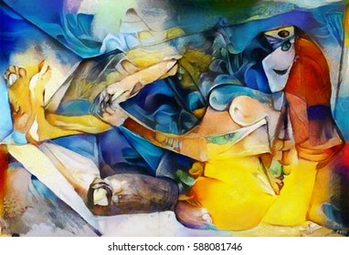 Alternative reproductions of famous paintings by Picasso. Applied abstract style of Kandinsky. Designed in a modern style oil on canvas with elements of fine art pastel painting.