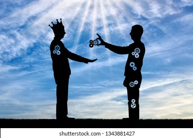 Altruist gives man sacrificing a part of themselves and selfish man with a crown takes. The concept of social problems of society