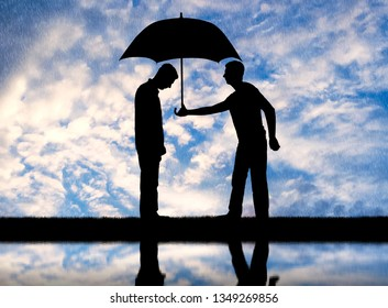 Altruist man gives his umbrella to another sad man standing in the rain. Altruism concept