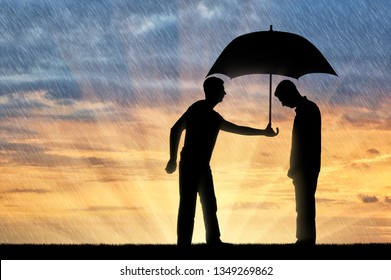 Altruist man shares an umbrella with another sad man standing in the rain. Concept of Altruism in society
