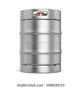 Aluminium beer keg with red lid isolated on white background. 3D illustration