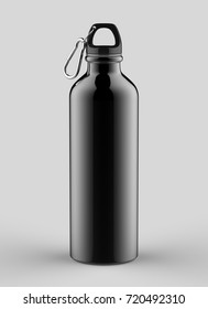 Aluminium black shiny sipper bottle for mock up and template design. 3d render illustration.