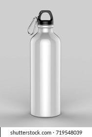 Aluminium blank white shiny sipper steel bottle for mock up and template design. 3d render illustration.