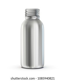 aluminium bottle isolated on a white. 3d illustration