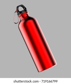 Aluminium brushed metal red shiny sipper bottle for mock up and template design. 3d render illustration.