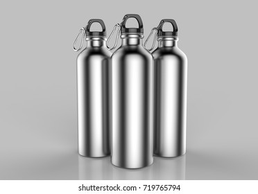 Aluminium brushed silver shiny sipper bottle for mock up and template design. 3d render illustration.