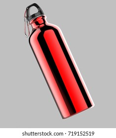 Aluminium red shiny sipper bottle for mock up and template design. 3d render illustration.