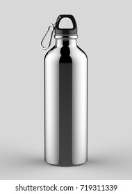 Aluminium shiny sipper bottle with hook for mock up and template design. 3d render illustration.