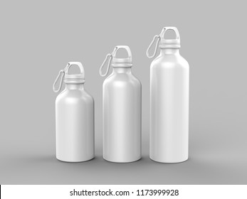 Aluminium Shiny Sipper Bottle For Mock up And Template Design. 3d Render Illustration.
