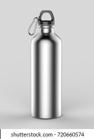 Aluminium silver brushed shiny sipper bottle for mock up and template design. 3d render illustration.