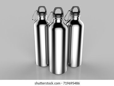 Aluminium silver shiny sipper bottle for mock up and template design. 3d render illustration.