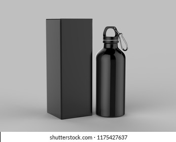 Aluminium Water Bottle with box packaging For Mock up And Template Design. 3d Render Illustration.