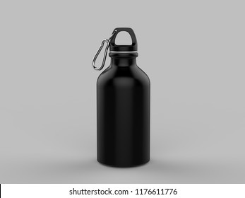 Aluminium Water Bottle For Mock up And Template Design. 3d Render Illustration.
