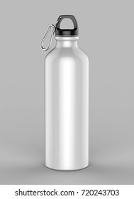 Aluminium white blank shiny sipper bottle for mock up and template design. 3d render illustration.