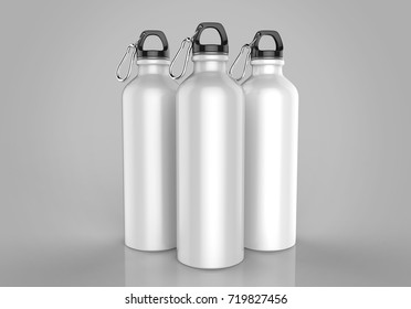Aluminium white shiny sipper bottle for mock up and template design. 3d render illustration.