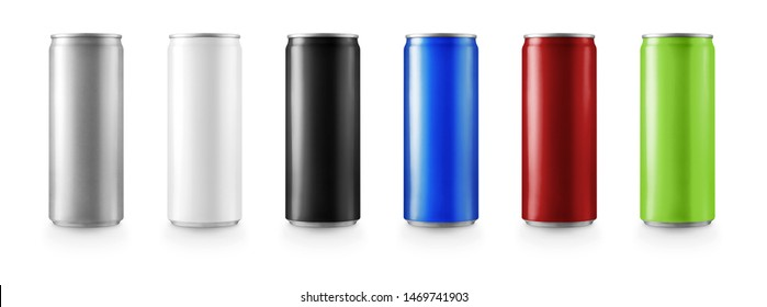 Aluminum 3d slim cans in silver,white,black,blue,red,green isolated on white background