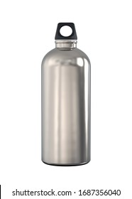 Aluminum Alloy or Titanium Metal Hiking or Cycling Sports Water Bottle with Black Bung for Carabiner. 3D Render Isolated on White Background.
