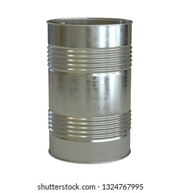 Aluminum barrel isolated on the white background 3d rendering