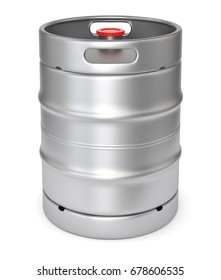 Aluminum beer keg with red lid isolated on white background. 3D illustration