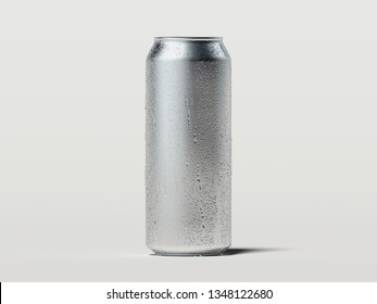 Aluminum beer or soda can with droplets isolated on white, 3d rendering.