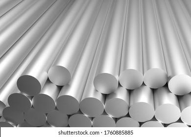 Aluminiumknüppel, rohe Stangen, 3D-Rendering