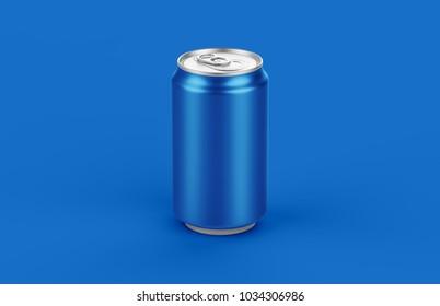 Aluminum blue can mockup on blue background. 330ml aluminum tin soda mock up.