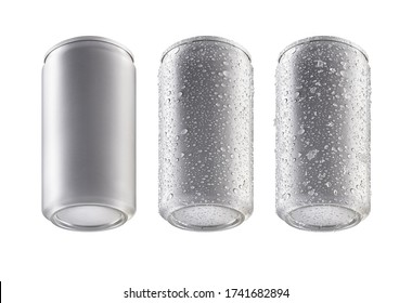 Aluminum bottom cans isolated on white background.can under view.bottom canned with water drops.bottom canned with water drops and ice.3D rendering