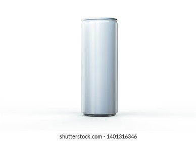 Aluminum can mockup isolated on white background. 250 ml aluminum soda can mock up.