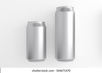 aluminum cans 330 and 500 ml. 3D illustration