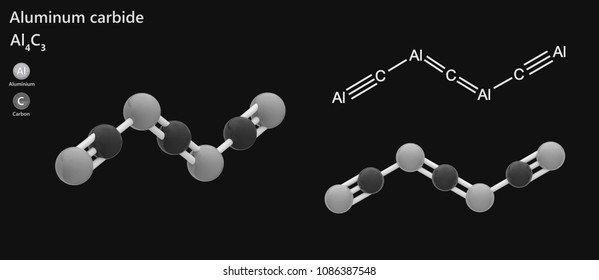 Aluminum carbide, chemical formula Al4C3, is a carbide of aluminum. It has the appearance of pale yellow to brown crystals. 3d illustration. The molecule is represented in different structures.