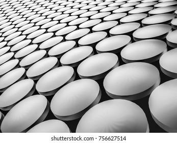 Aluminum discs construction wavy background. 3d illustration.